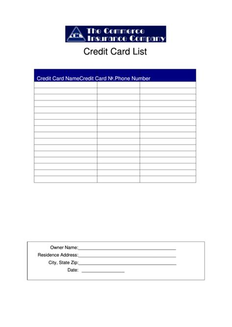 credit card list template printable