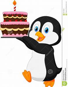 Cute Penguin Holding Birthday Cake Stock Vector ...