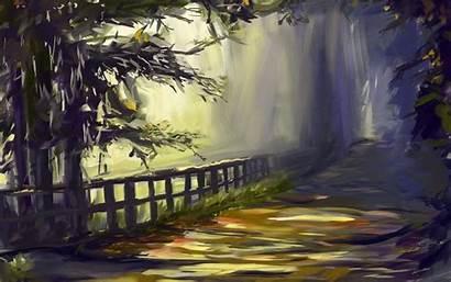 Painting Road Desktop Wallpapers Background Trees Landscape