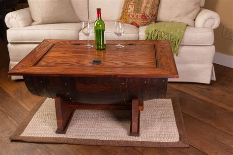 Wine Barrel Coffee Table With Distressed Finish Is Made In Usa
