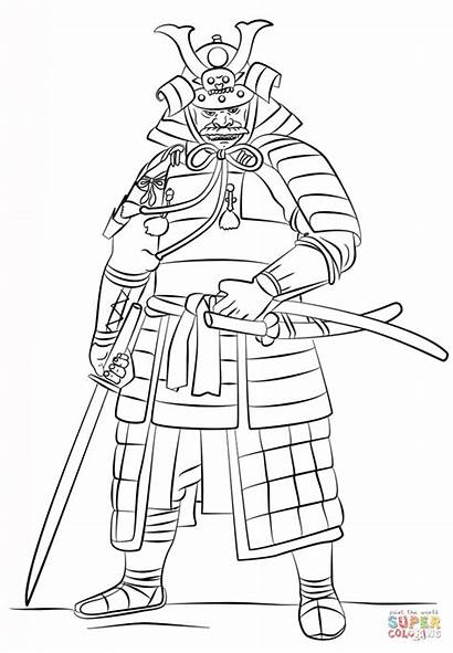 Samurai Coloring Wearing Pages Printable Yoroi Sword
