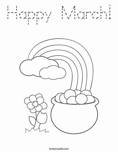 Coloring March Happy Pages Rainbow Printable Worksheets