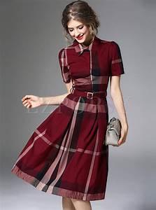 Dresses Skater Dresses Hit Color Plaid A Line Dress
