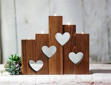 wood hearts candle holder set   anniversary gift