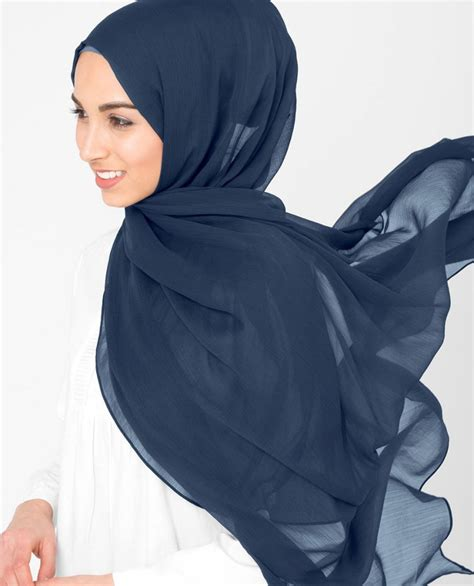 indigo night navy blue polychiffon hijab  inessence