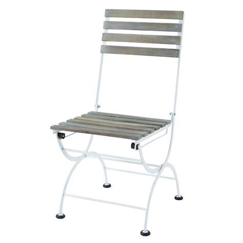 metal and acacia wood folding garden chair in white garden