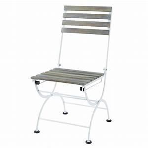 Chaise De Jardin Blanche : chaise pliante de jardin en m tal et acacia blanche garden ~ Dailycaller-alerts.com Idées de Décoration