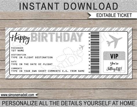 birthday gift airplane ticket printable boarding pass
