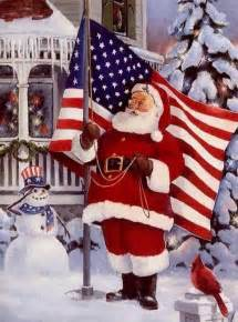 Santa with American Flag