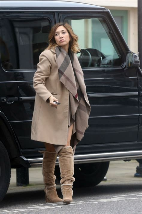 myleene klass highlights  toned legs  brown suede boots north london march
