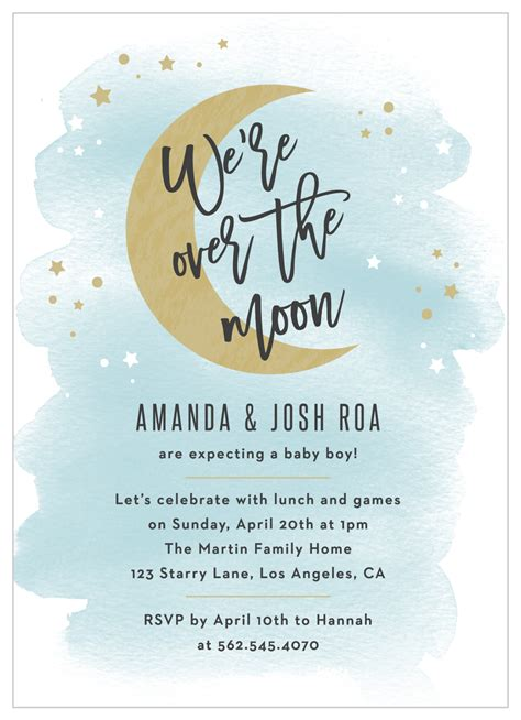 Over the Moon Baby Shower Invitations by Basic Invite