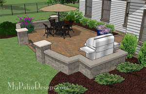 patio seat wall design private backyard patio design with seat wall 415 sq ft mypatiodesign com