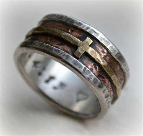 mens wedding band rustic fine silver copper  brass