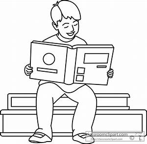 Black and white clipart of kids reading books - Clipart ...