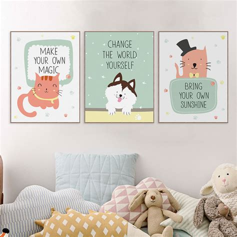 poster chambre bebe modern kawaii animals pet cat quotes canvas a4