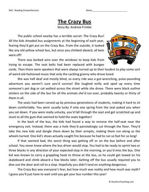 Reading Comprehension Worksheet  Crazy Bus