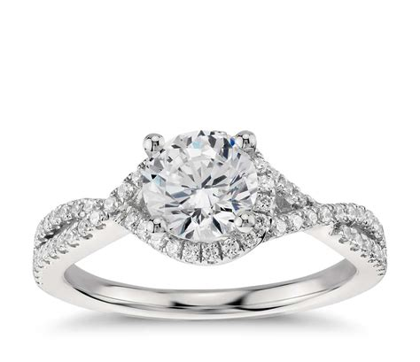 Twisted Halo Diamond Engagement Ring In Platinum (13 Ct