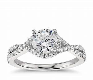 Twisted Halo Diamond Engagement Ring In Platinum 13 Ct