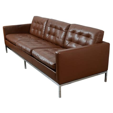 chocolate brown sofas for sale classic chocolate brown florence knoll leather sofa at 1stdibs
