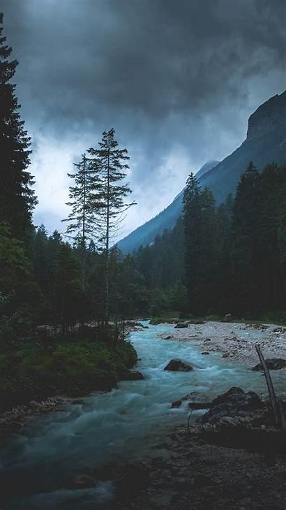 Iphone Dark Nature Night Mountain River Wood
