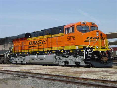 BNSF 5876 sits coupled to BN 9623 at the Burlington, Iowa ...