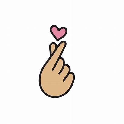 Korean Heart Symbol Icon Finger Vector Illustration
