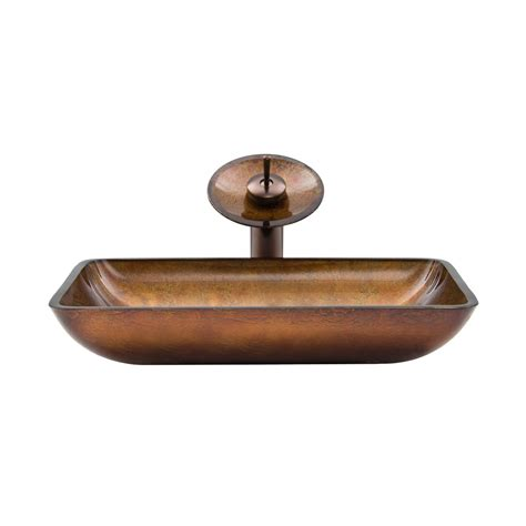 vigo vgt007 rectangular glass vessel sink and waterfall faucet set atg stores