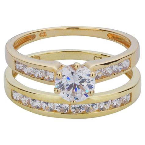 buy 9ct gold 2 piece cubic zirconia bridal ring at argos co uk your online shop for
