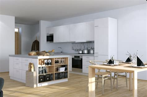 scandinavian studio apartment kitchen  open plan