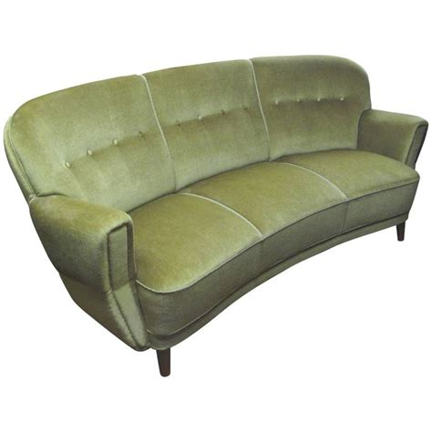 1930s Sofa by 1930s 1940s Curved Mohair Upholstered Sofa At 1stdibs
