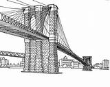 Coloring Pages York Bridge Adult Drawing Brooklyn Books sketch template