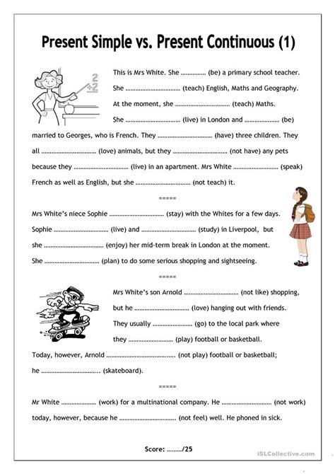 simple present progressive tense worksheet