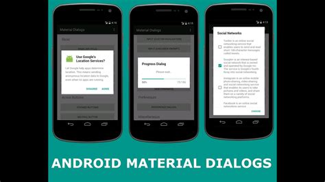 ANDROID MATERIAL DIALOGS - YouTube