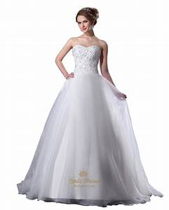 white organza sweetheart strapless beaded bodice aline With white beaded wedding dress