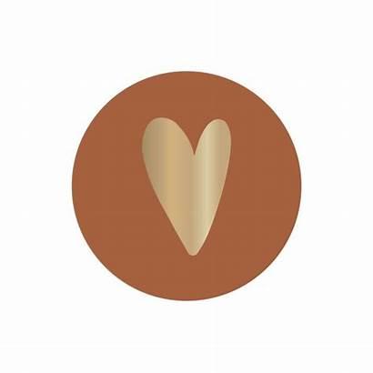 Stuks Stickers Hartje Gouden Rond Terra Geel