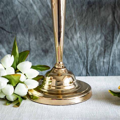 2 Pcs 29 Tall Metallic Trumpet Vases Candle Holders