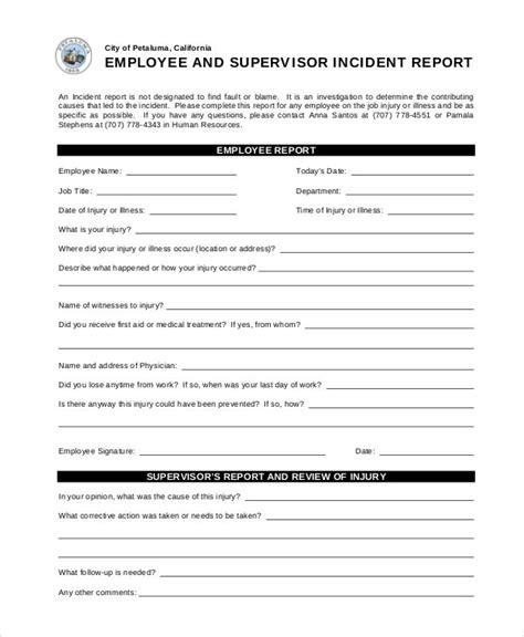sample incident report templates  docs word