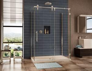 Shower doors bathroom frameless enclosures for Porte de douche coulissante avec mobilier salle de bain vintage