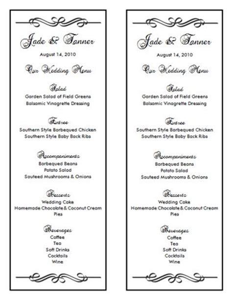 free menu templates for word wedding menu template 7 wedding menu templates