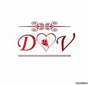 """DV love initial with red heart and rose"" Immagini e ..."