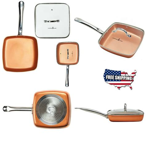 square fry pan  lid chef  stick copper heat resistant stainless steel  ebay