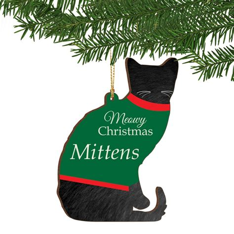 meowy christmas personalized cat ornament