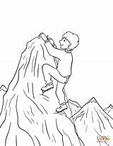 Coloring Climbing Mountain Boy Pages Summit Printable Drawing Paper Games sketch template