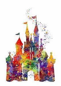 Disney Castle 6 Watercolor Print Digital Art by Svetla