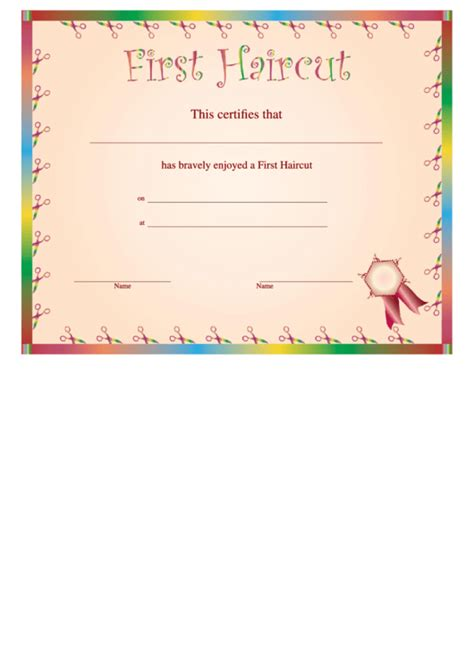 haircut certificate printable