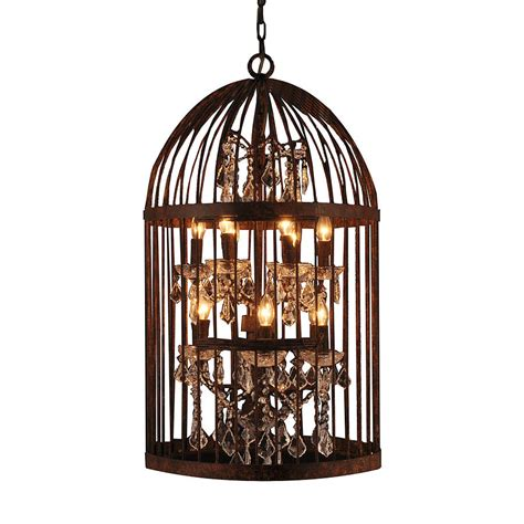 Birdcage Chandelier by Retro Candle Lighting Iron Birdcage