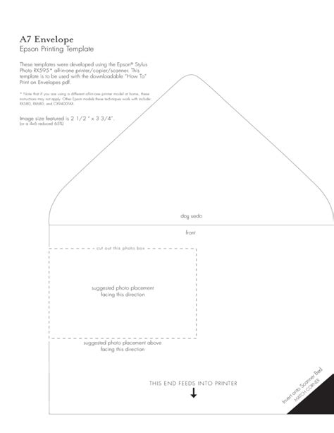 a7 envelope template a7 envelope exle free