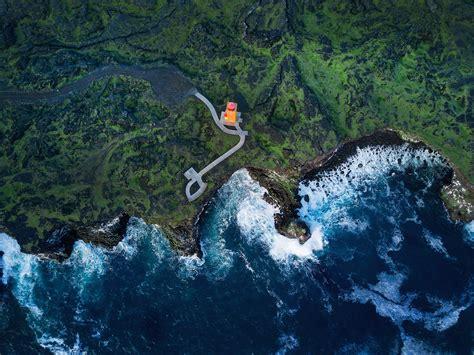 Iceland, Aerial view, Sea, Coast, Lighthouse, Svortuloft ...