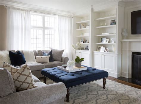 navy ottoman coffee table navy tufted ottoman transitional living room flax design