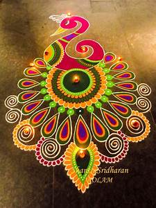 Beautiful & Simple Peacock Rangoli Designs Images